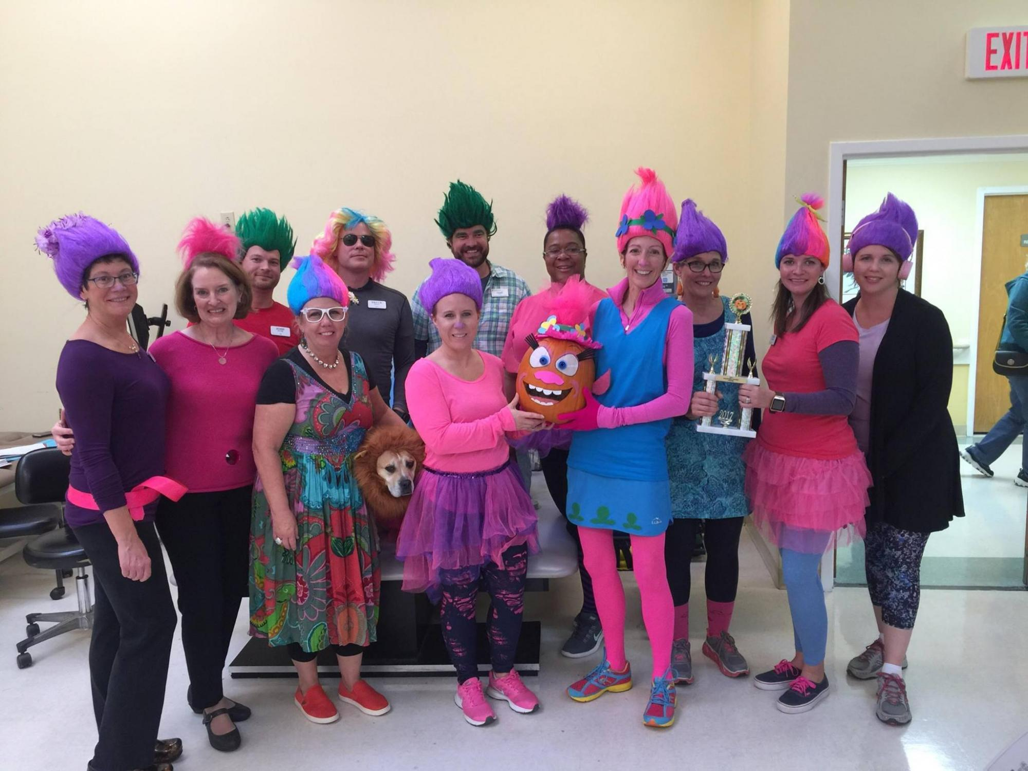 Beaufont team dressed up as Trolls for Halloween 2017