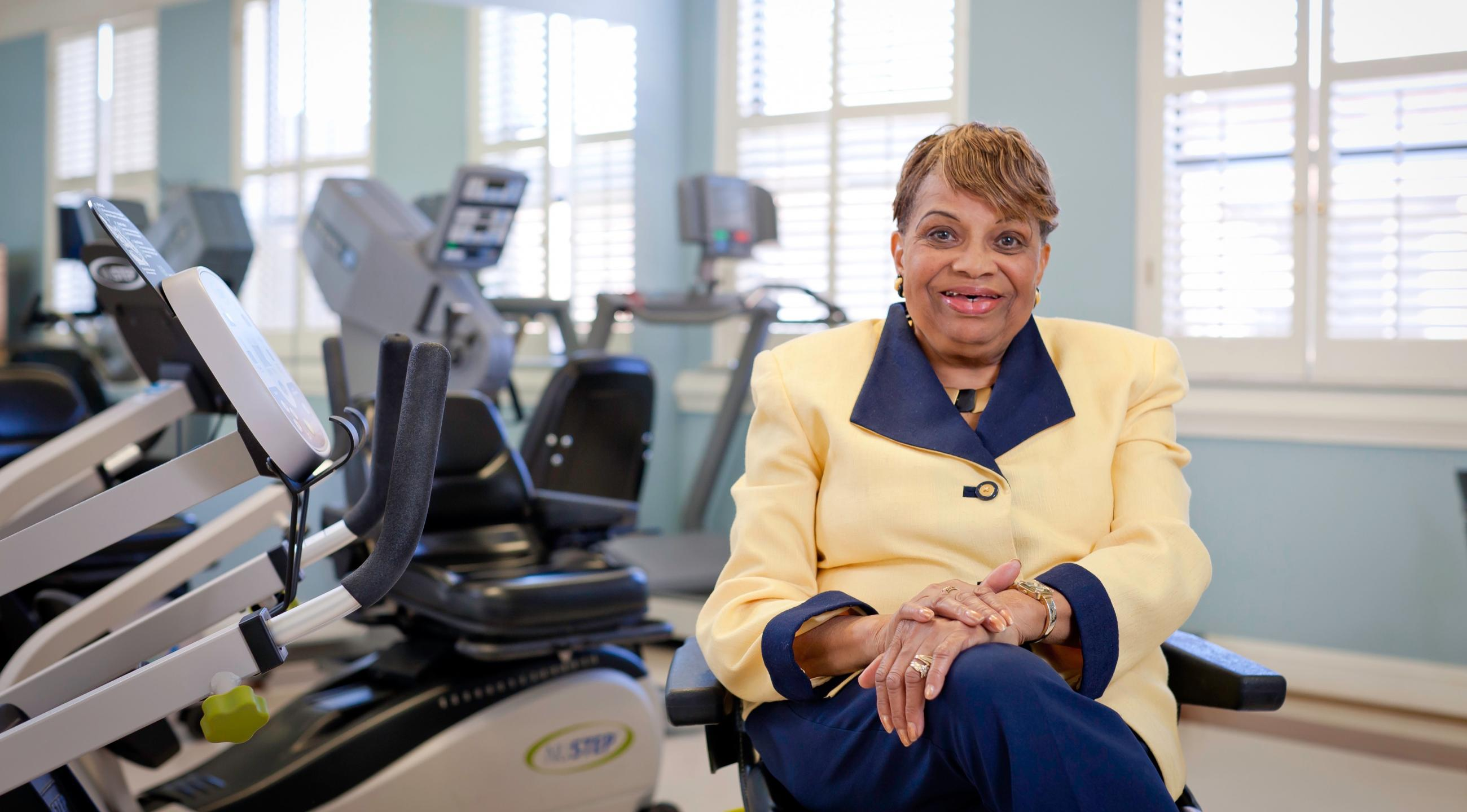 Gertrude in our LifeWorks Rehab gym