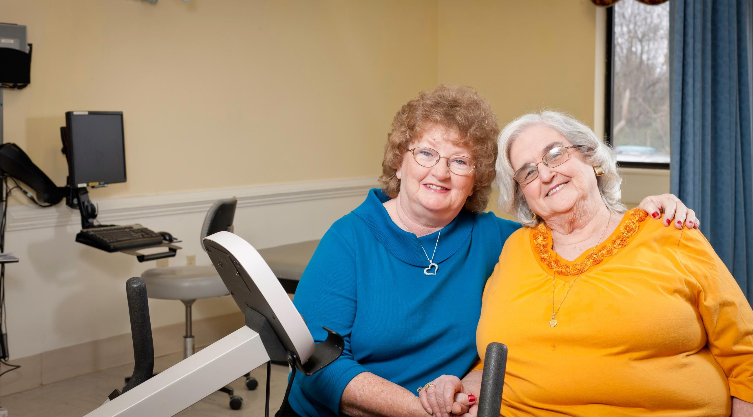 Carol McCauley and Hazel Gallier in our LifeWorks Rehab gym.