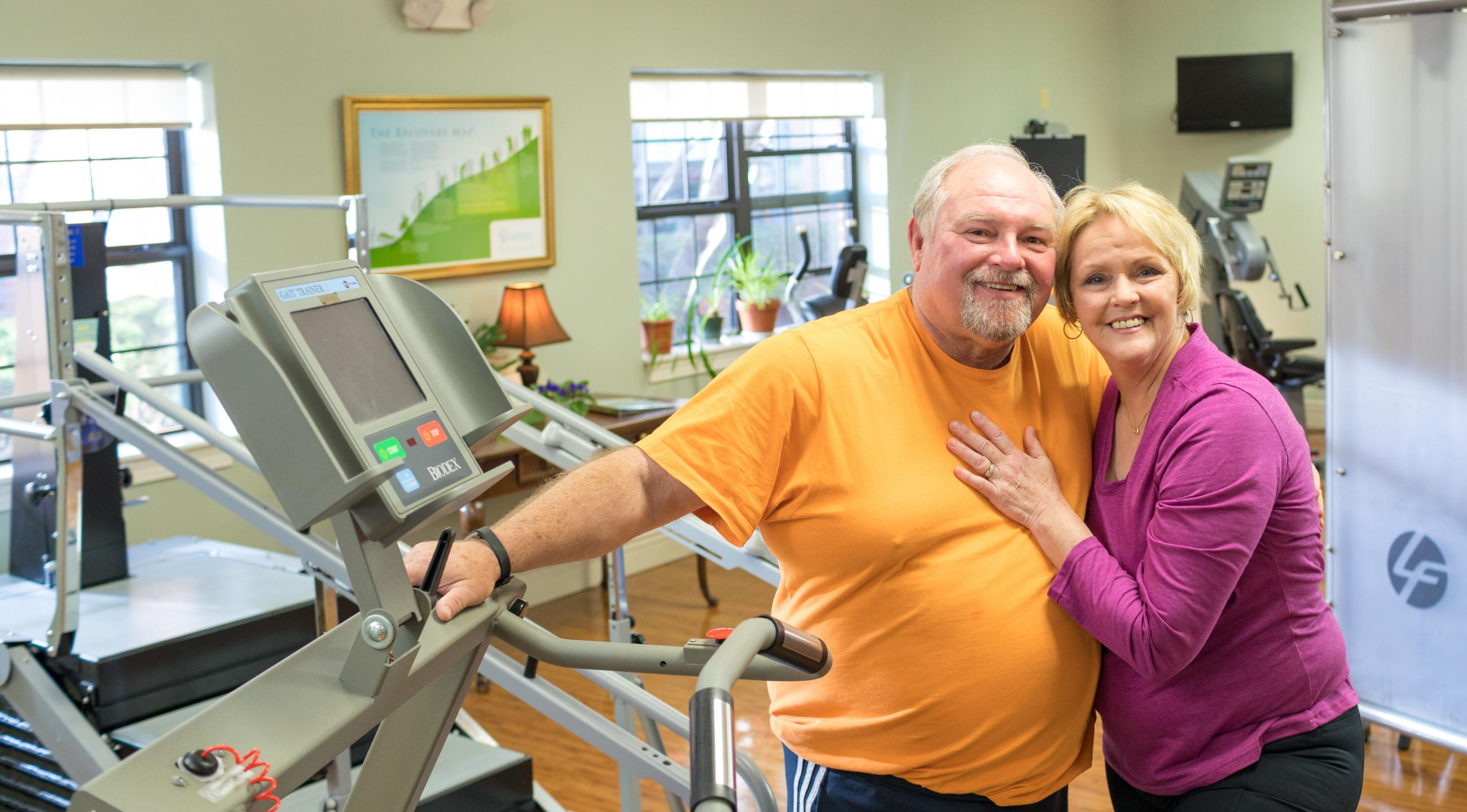 Steve and Debbie Miller in the LifeWorks Rehab gym
