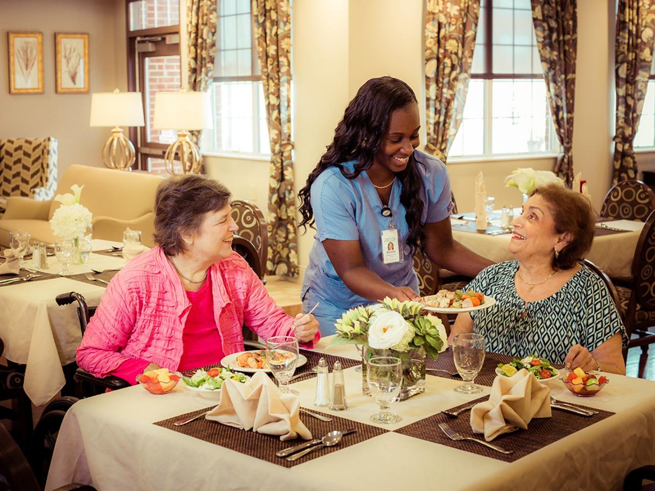 Patients enjoying our Restaurant-Style Dining experience