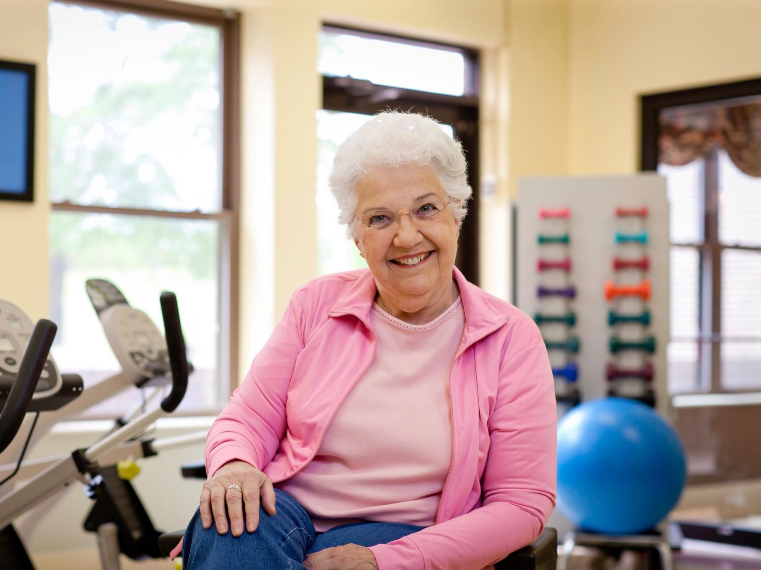 Mary in our LifeWorks Rehab gym