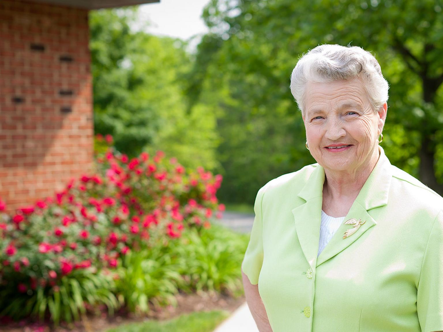 Betty enjoying the grounds outside of Appomattox Health & Rehabilitation Center